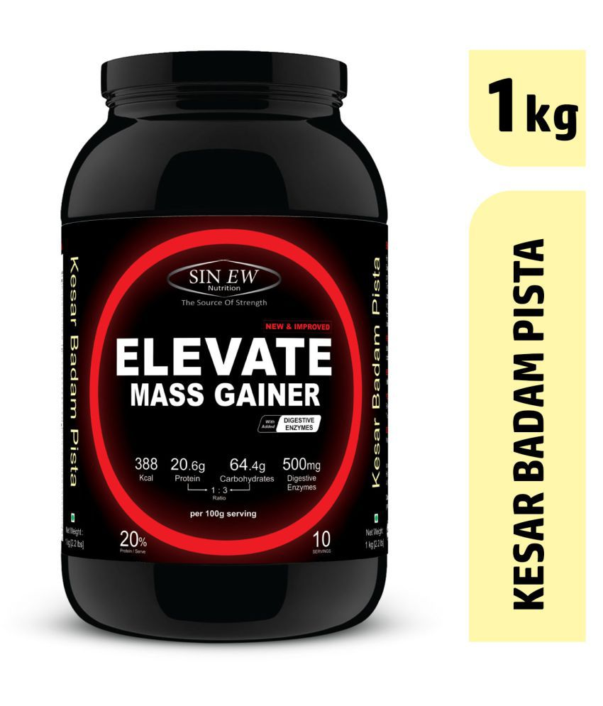 Sinew Nutrition ElevateMassgainerwith Digestive Enzymes, 1 Kg Kesar Badam Pista 1 kg Mass Gainer Powder