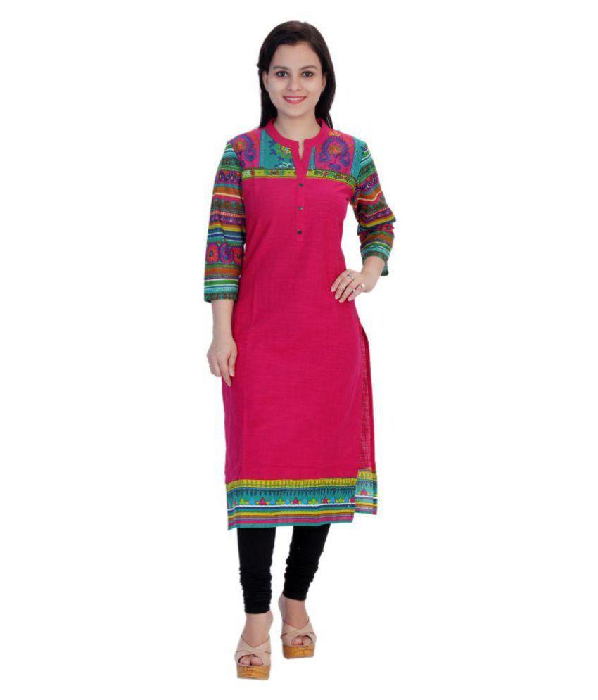 Rangelo Rajasthan Red Cotton Straight Kurti