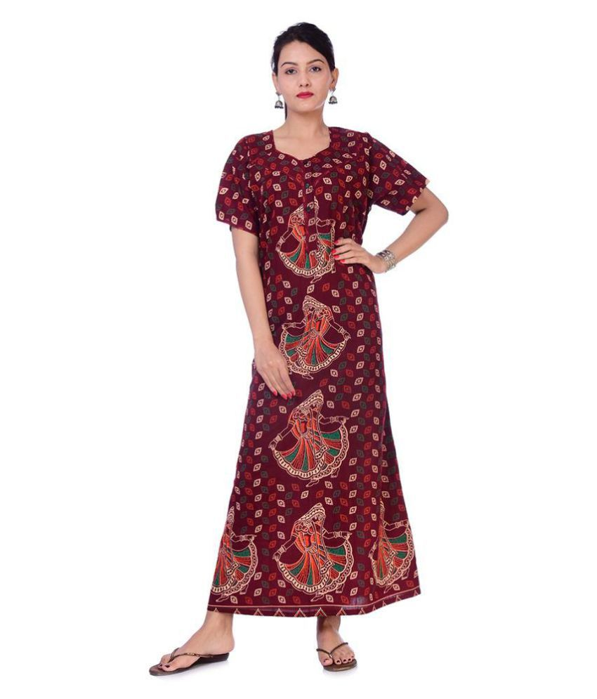 Raj Cotton Nighty & Night Gowns - Maroon