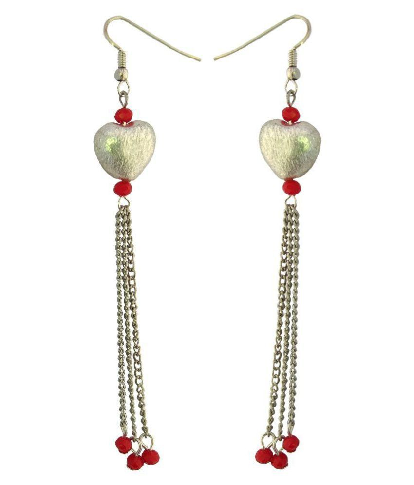 Abhisu Antique Jewellery chain with heart pendant and earrings for girls