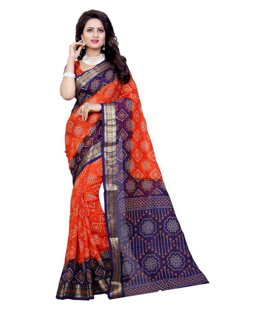 Prkz Fashion Orange Art Silk Saree