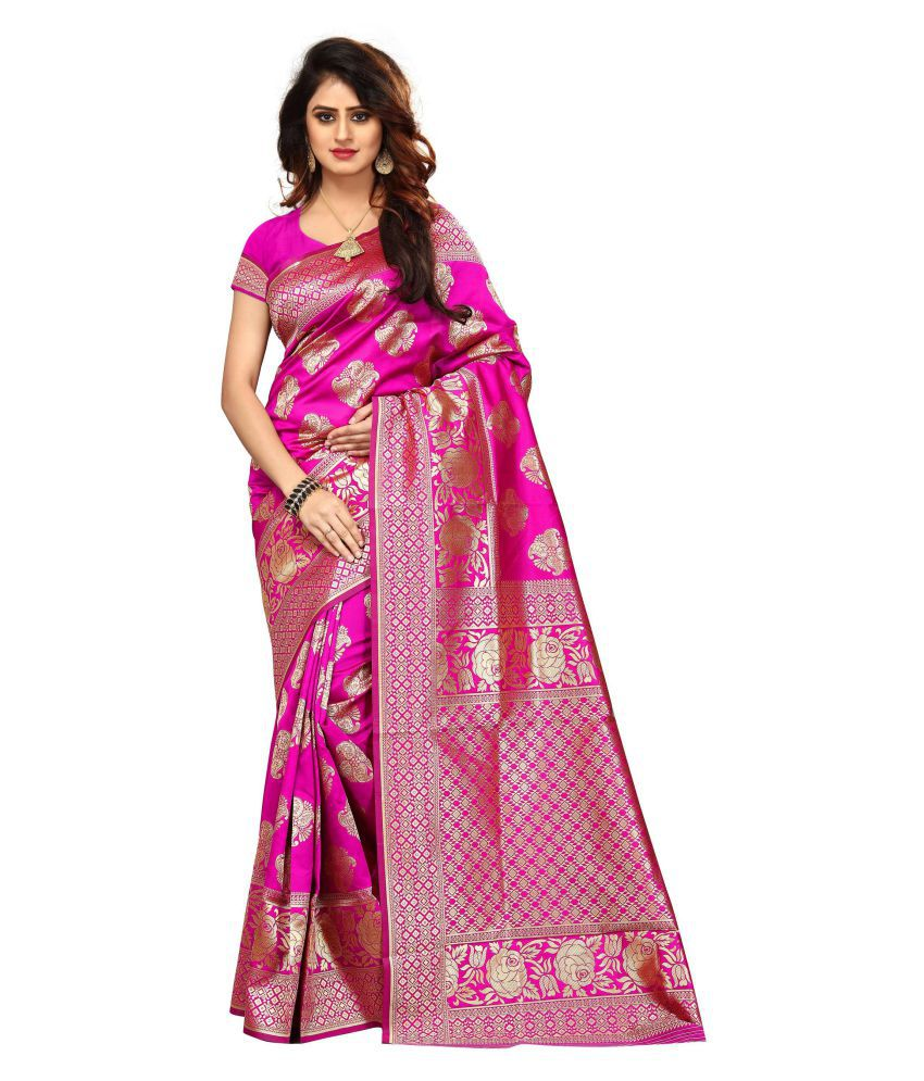 FASHION WILLA Pink Banarasi Silk Saree