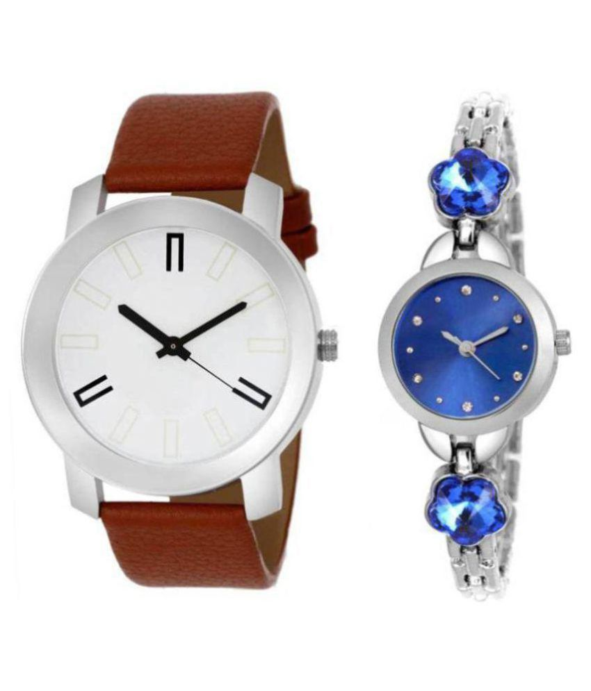 Devani Watch Top Rating Pack Of Two Metal And Leather Strap Couple Combo For Boys And Girls Watch - For Men & Women