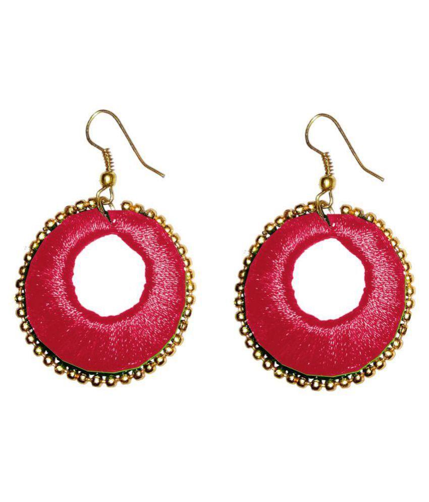 Fashionable Red Hoop Earrings By Shrungarika
