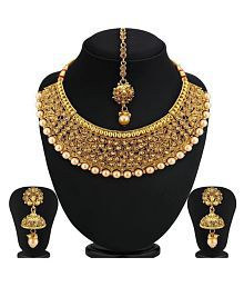 4f96f2ac138 Quick View. Sukkhi Alloy Golden Choker Traditional 18kt Gold Plated  Necklaces Set