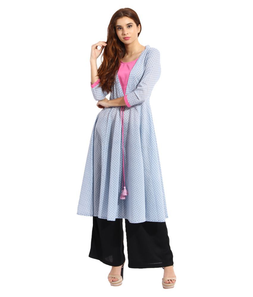 Aayna cotton Blue Fit And Flare Dress