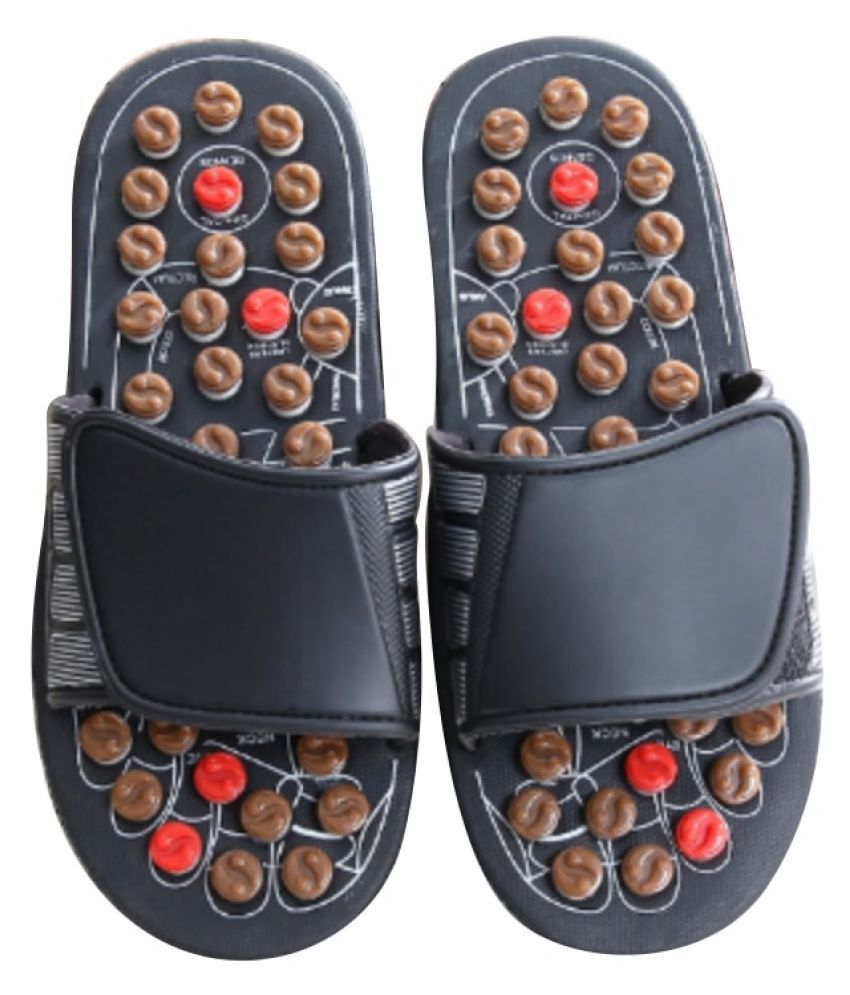 WowObjects 1Pc Rotating Tai Chi Foot Massage Slippers Health Shoe Slippers Sandal Reflexology Foot Massager Massage Relaxation Product Mp0032 Black, 40-41