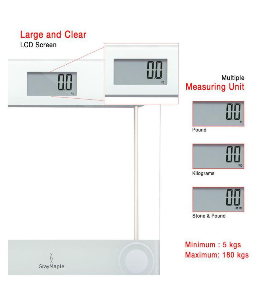 gray maple Digital Personal Body Weighing Scale GBS 810-D Glass