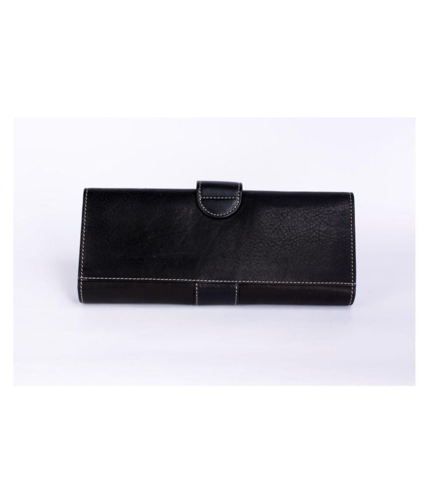 A H LUXE Black Faux Leather Box Clutch
