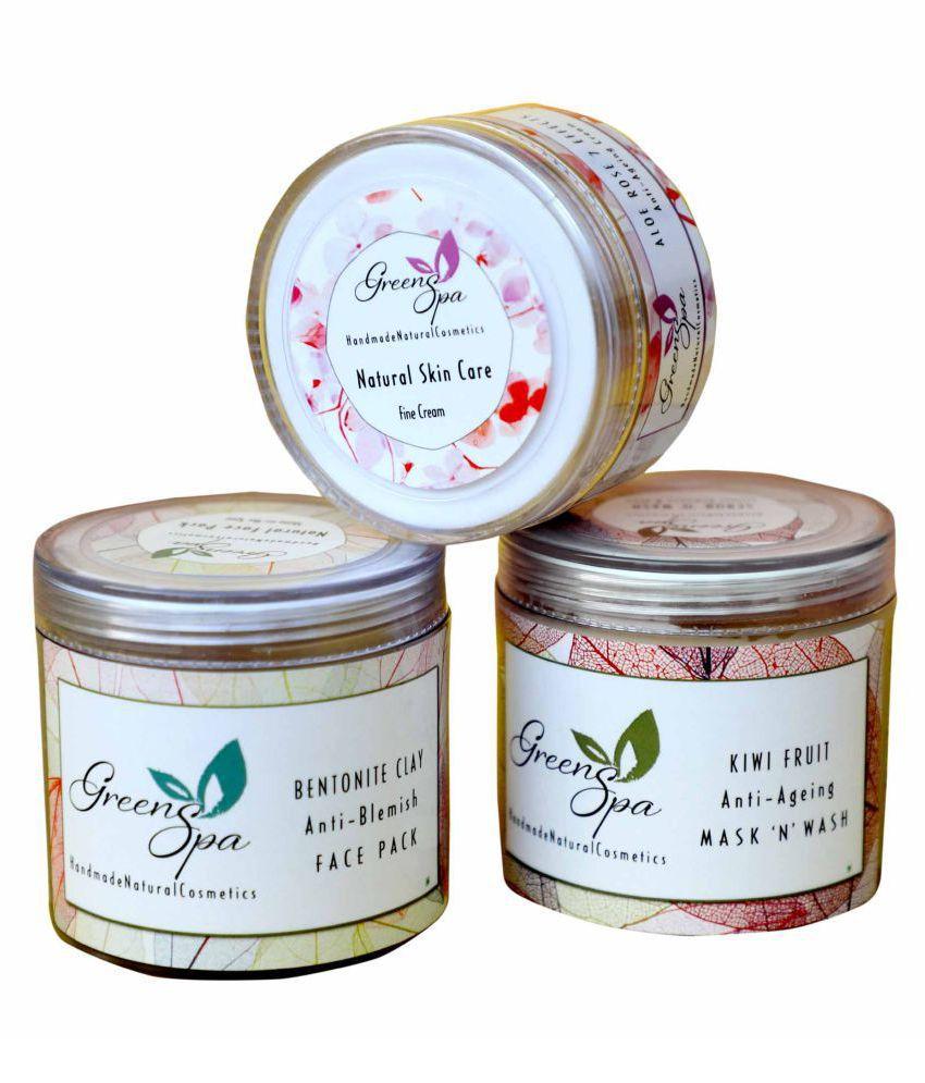 GREENSPA Anti Ageing Formulation - Scrub+Pack+Cream  Facial Kit 250 gm Pack of 3