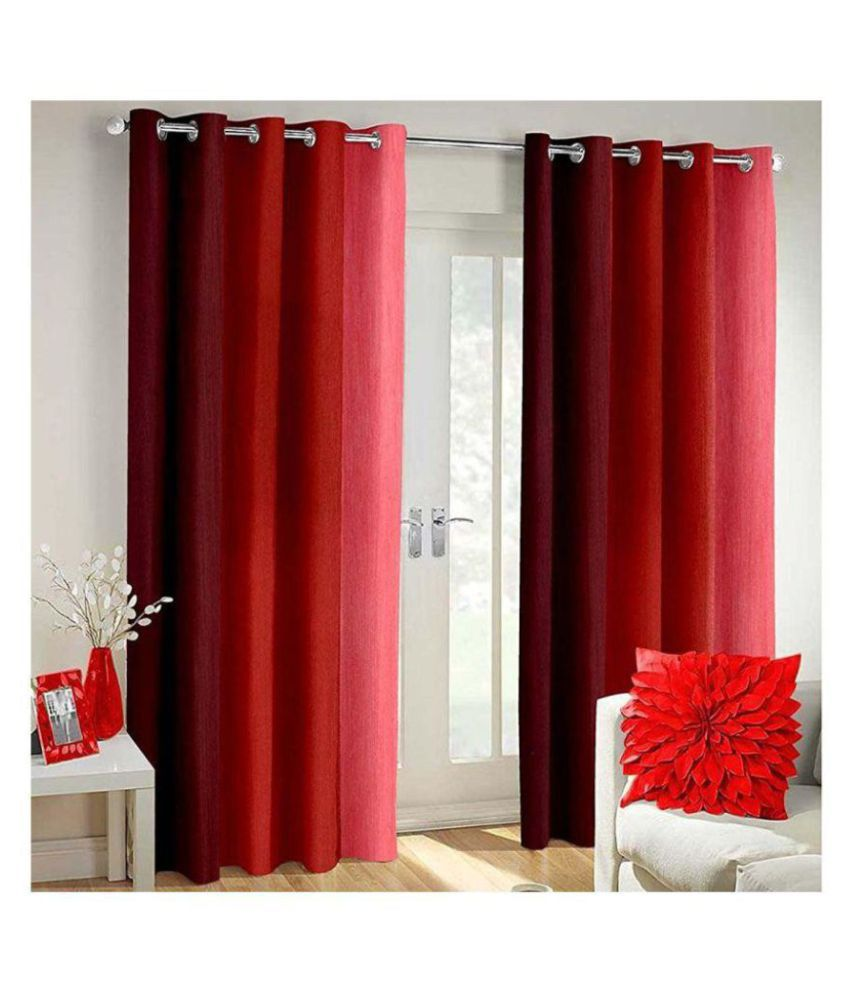 HomeStore-YEP Set of 2 Door Eyelet Polyester Curtains Red