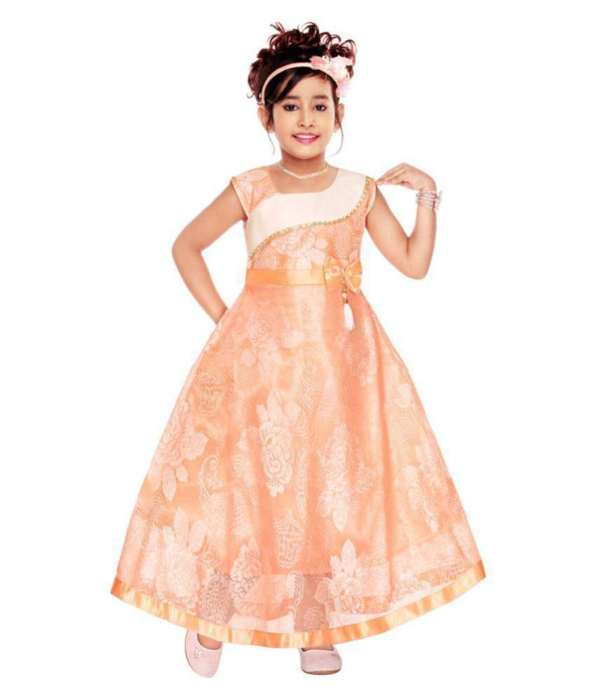933ac587e4062 ARK Fashions Maxi Girl's Dresses Full Length Frock Gown Bright Party Casual  Western Party Wear Frock Dress for Girls