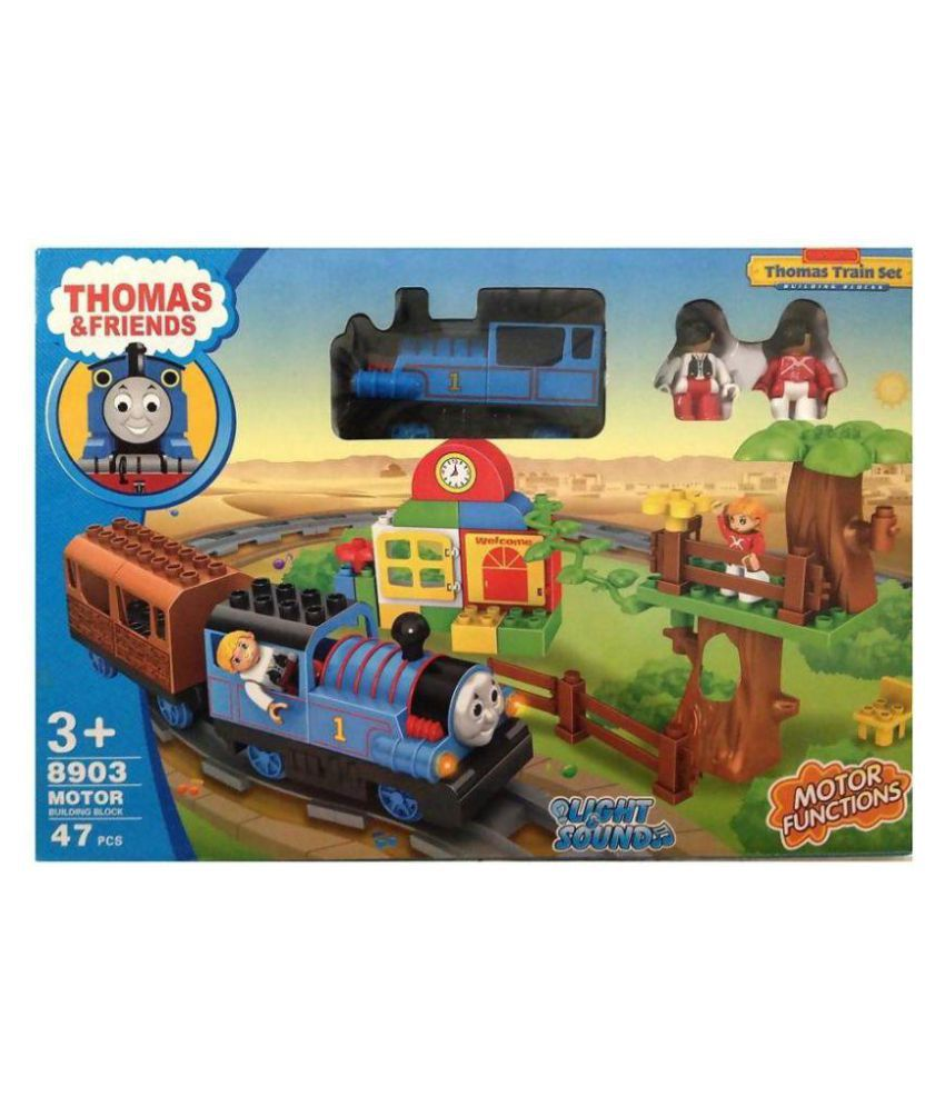 Vihaa Thomas And Friends Building Blocks and Train Set with Light and Sound, Multicolor (47 pieces)