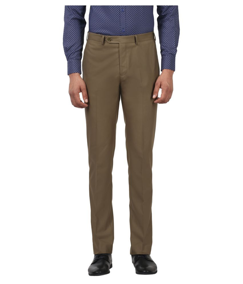 Colorplus Khaki Regular -Fit Flat Trousers