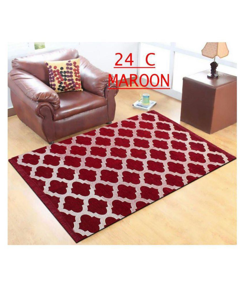 Kaizen Decor Maroon Chenille Carpet Geometrical 5x7 Ft