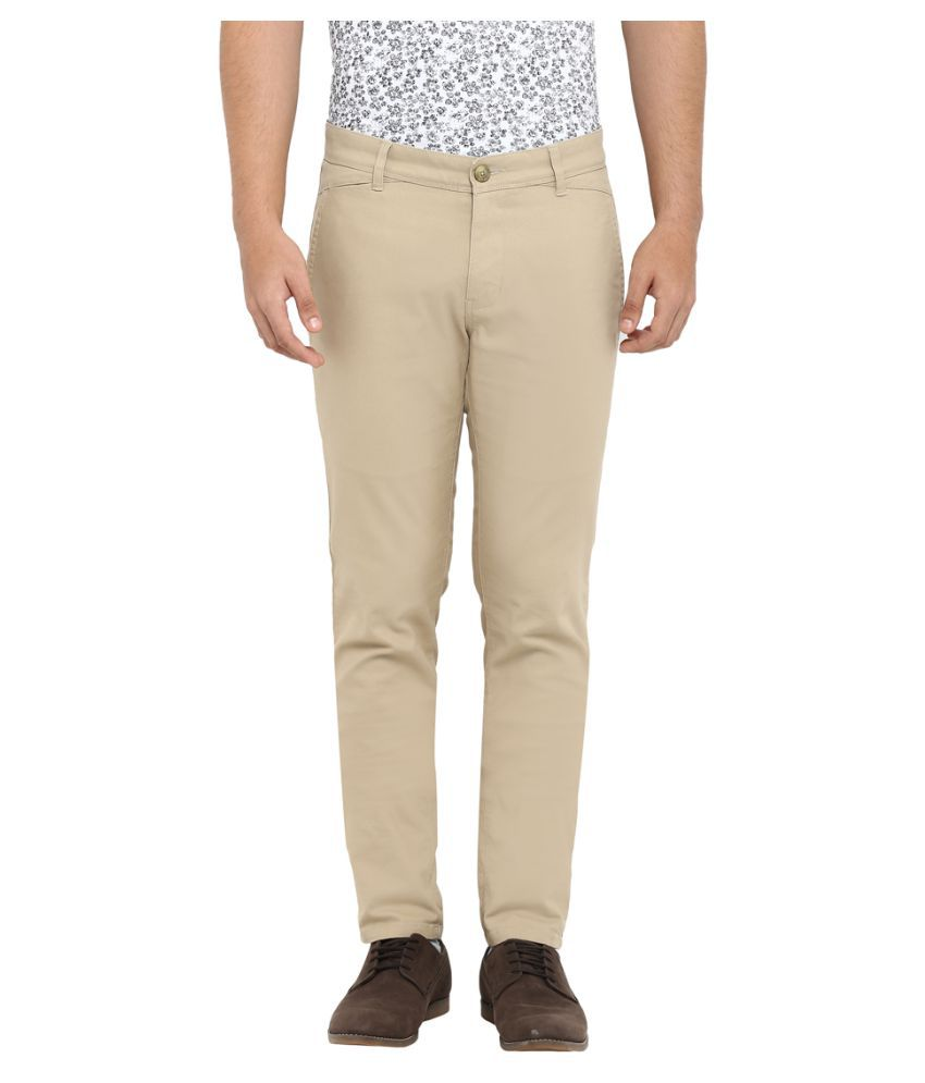 Colorplus Brown Tapered -Fit Flat Trousers