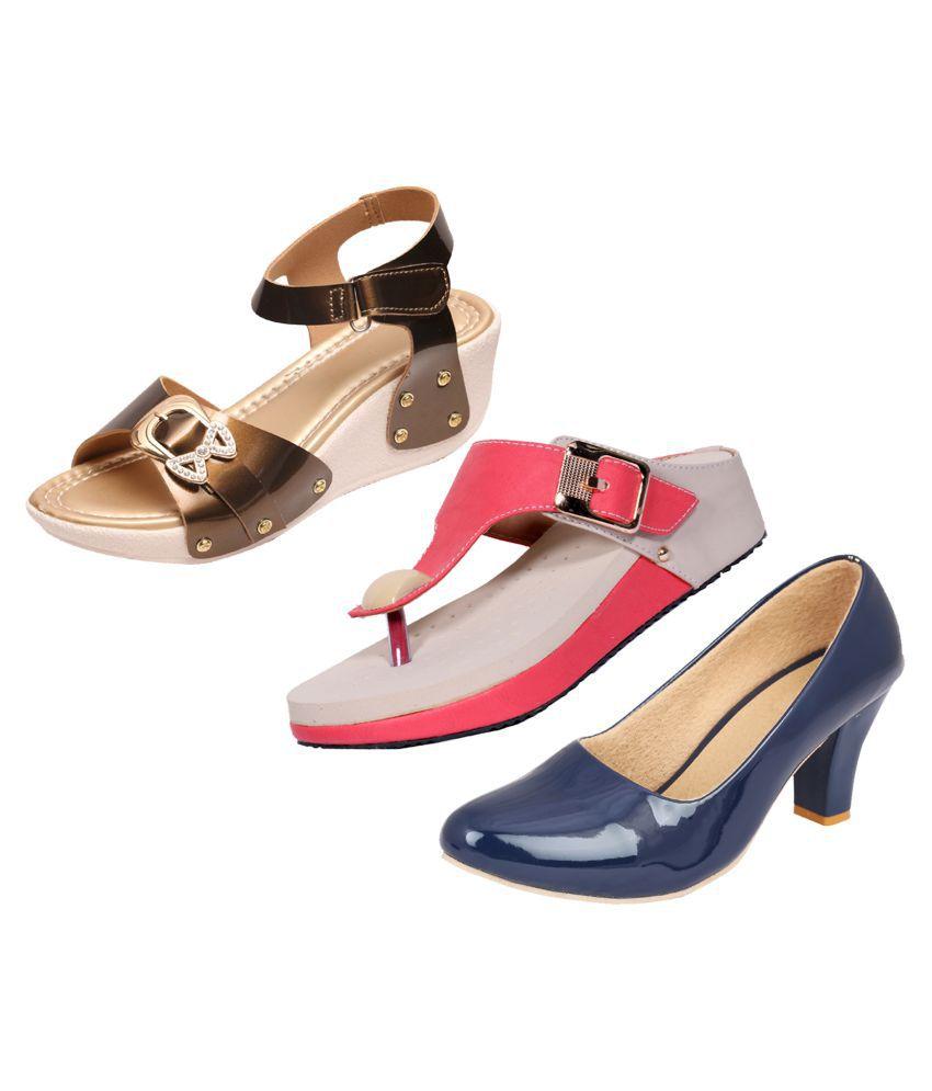 KAYU Blue Wedges Heels
