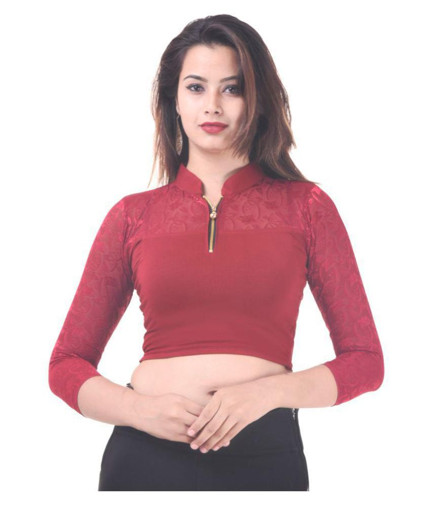 Bulbul Maroon Lycra Readymade without Pad Blouse