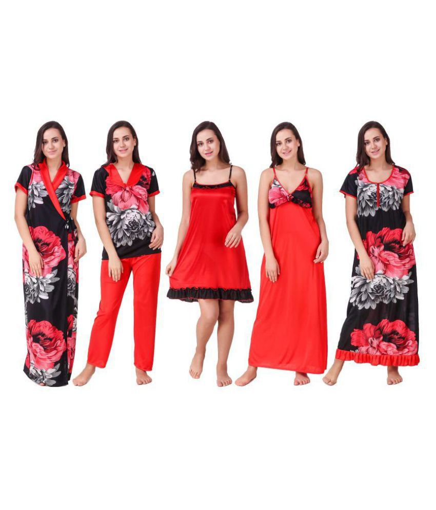 Freely Satin Nighty & Night Gowns - Red