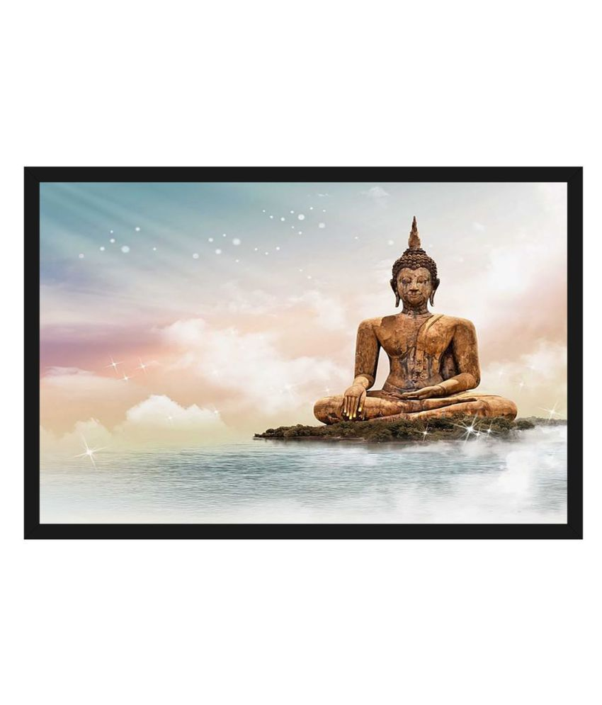HK PRINTS God Buddha Painting With Frame 14X20 Inch Wood Painting With Frame