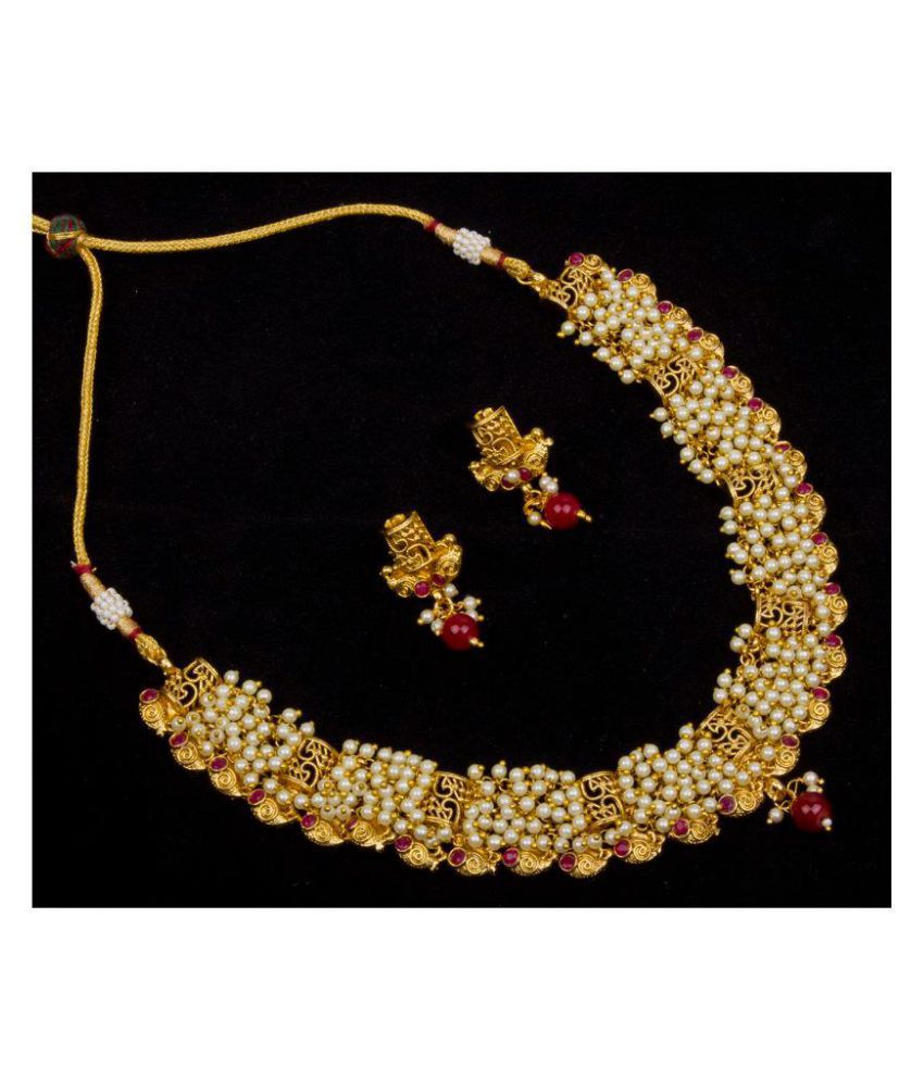 Piah Brass Golden Choker Designer Gold Plated Necklaces Set