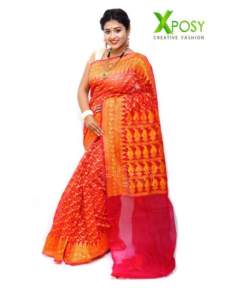 d1ebe11b080 Xposy Pink Jamdani Saree - Buy Xposy Pink Jamdani Saree Online at Low Price  - Snapdeal.com