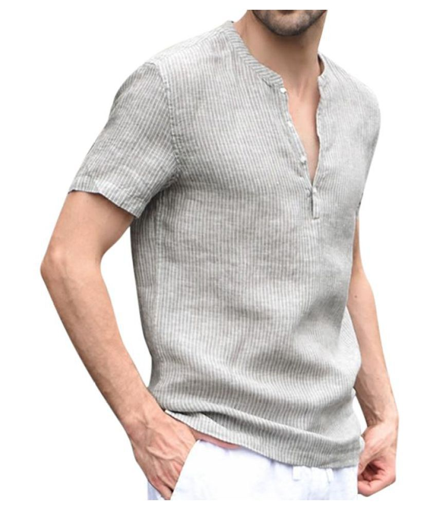 Men's Striped Stand-up Collar Casual Tops Short-sleeved Breathable Thin Slim Linen Shirt