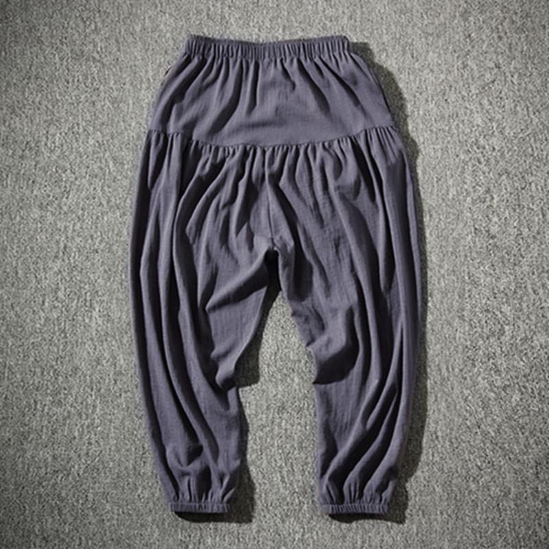 Retro Men Elastic Waist Baggy Casual Harem Vintage Long Pleated Trousers Pants