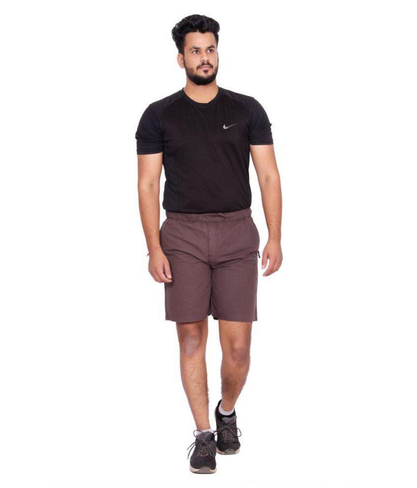 Kuber Industries Cotton Cargo Bermuda shorts for men   (Wine)