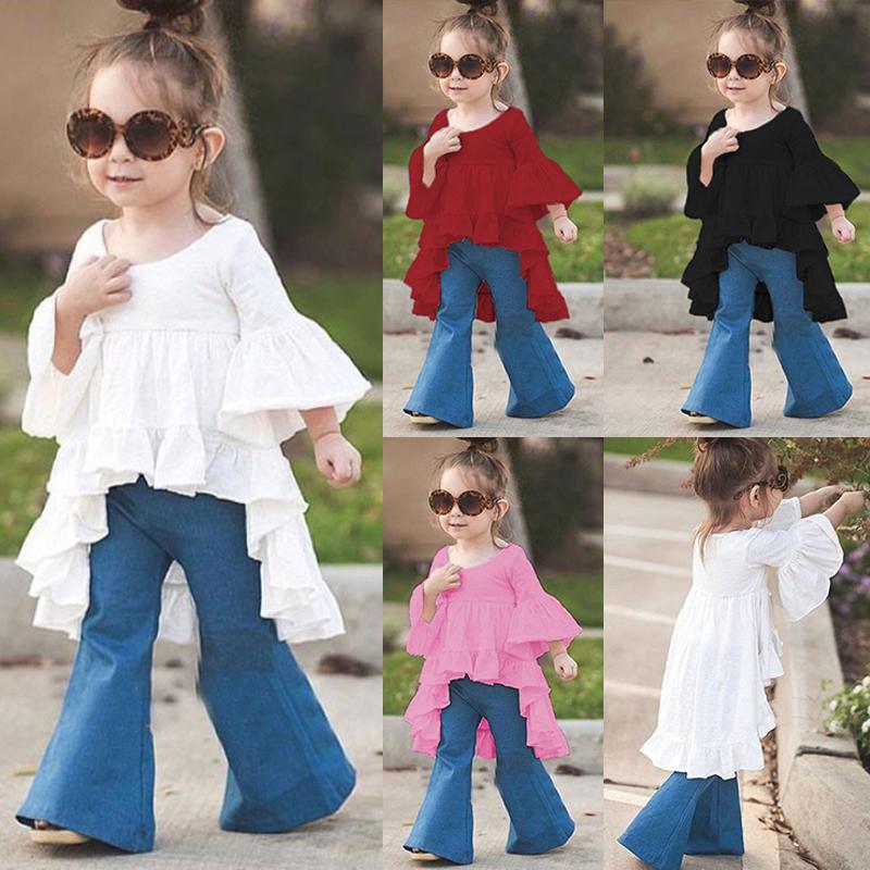 95ce6b6044a2 Toddler Kids Baby Summer Girls Long Sleeve Asymmetric Cotton Child Tops T- shirts ...