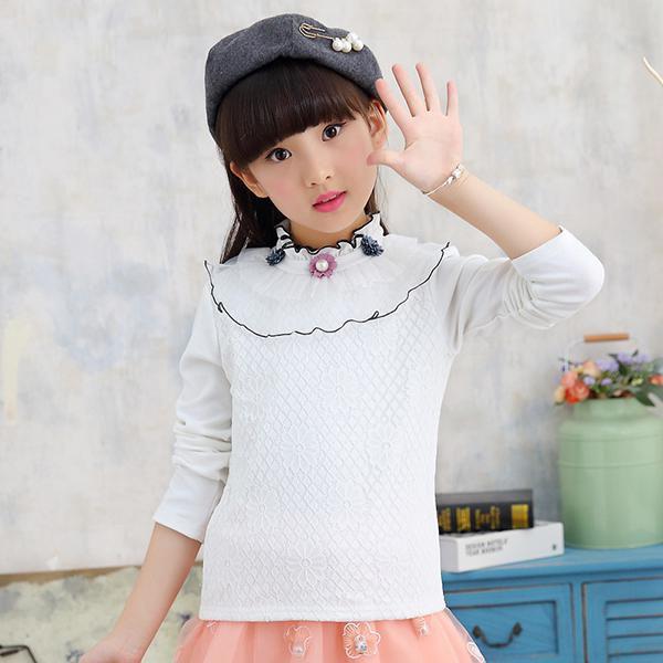 Cute Girls Sweatshirt Clothes Kids High Collar Girls Tops Outerwear Clothes