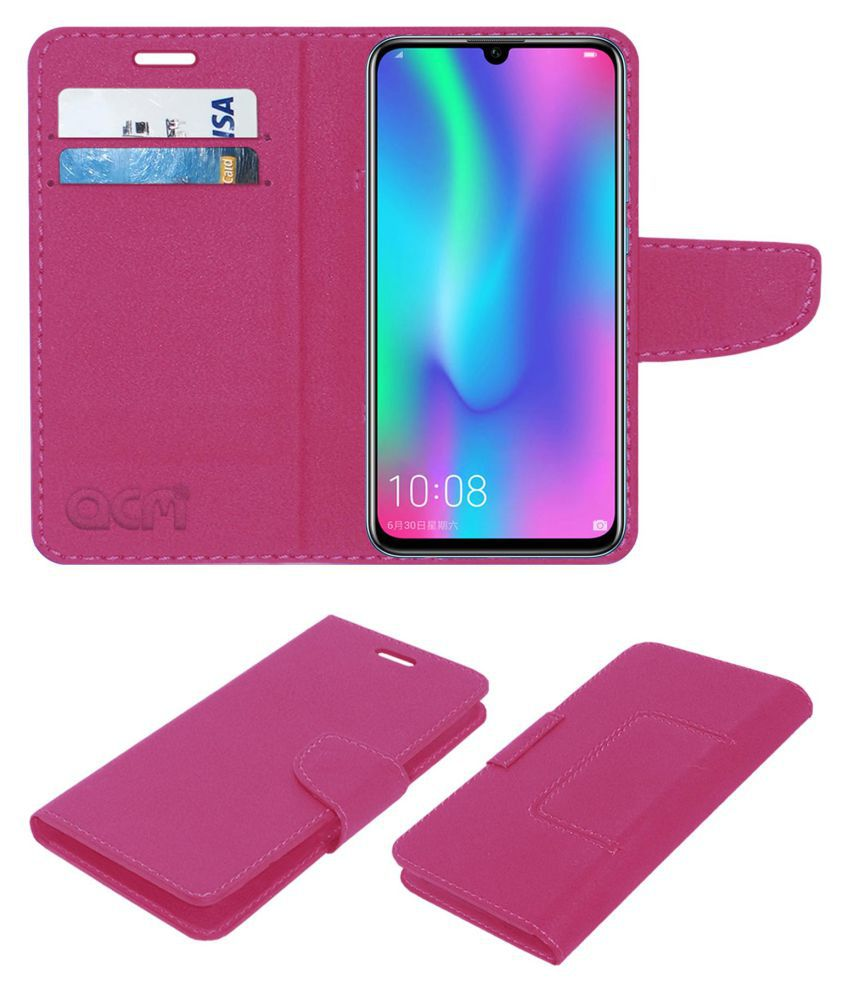 Honor 10 Lite Flip Cover by ACM - Pink Wallet Case,Can store 2 Card/Cash
