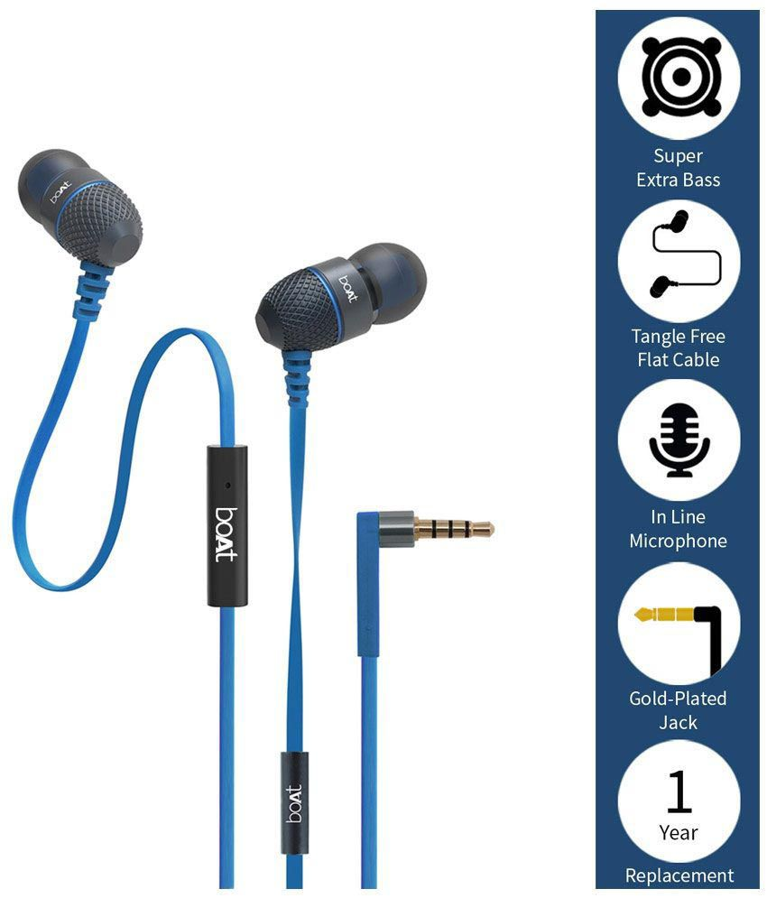 boAt BassHeads 200 Extra Bass In Ear Wired With Mic Earphones Blue Earbuds Ear Buds Handsfree - Buy boAt BassHeads 200 Extra Bass In Ear Wired With Mic ...