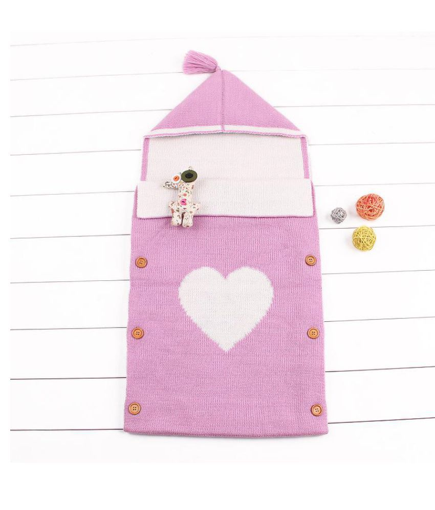 Knitted Button Closure Baby Hooded Sleepbag For 0-24M Baby Blanket/Baby Swaddle/Baby Wrap