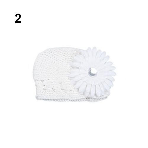 f5445494d34 ... Baby Infant Toddler Winter Warm Knitted Crochet Beanie Hat + Daisy  Flower Clip ...
