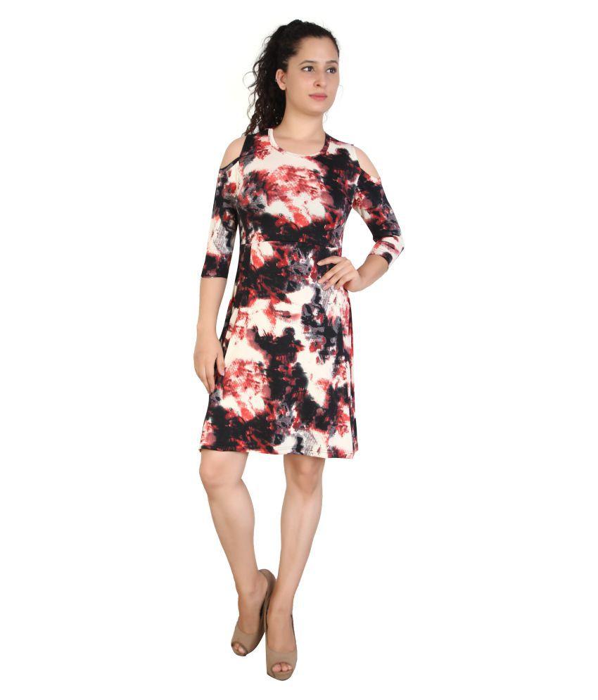 FCK-3 Cotton Multi Color Fit And Flare Dress