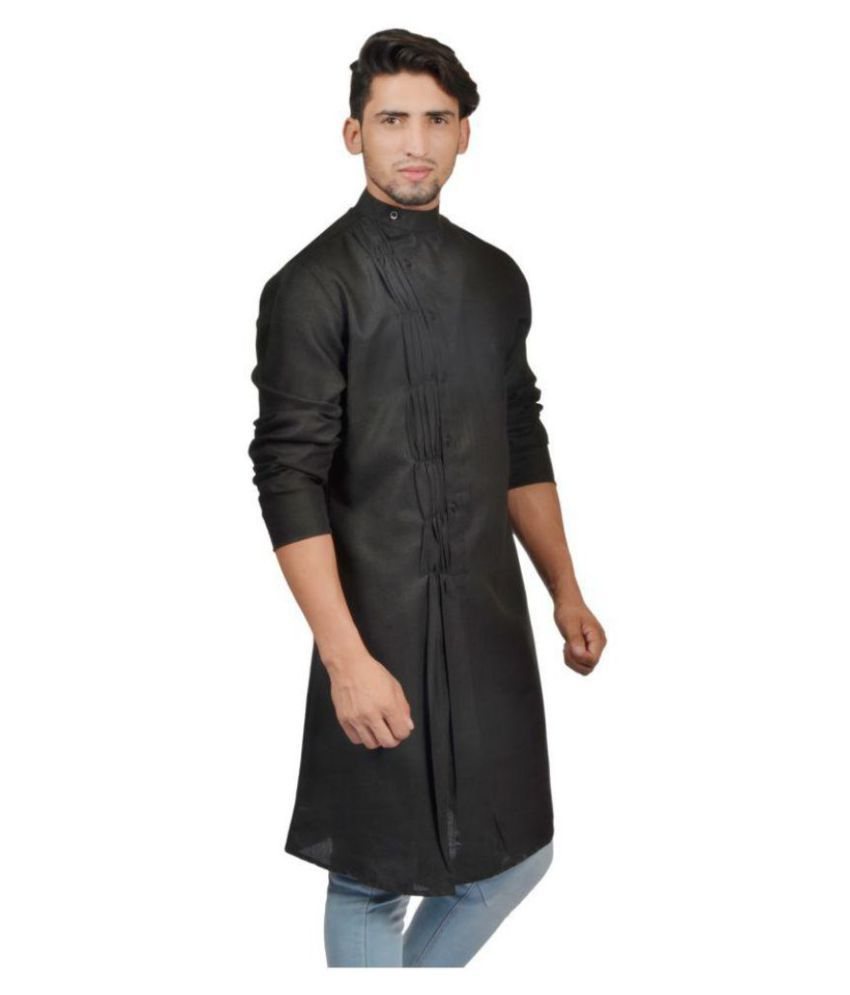 23e85c1e62 S9 Men Black Cotton Blend Kurta Single - Buy S9 Men Black Cotton Blend Kurta  Single Online at Low Price in India - Snapdeal