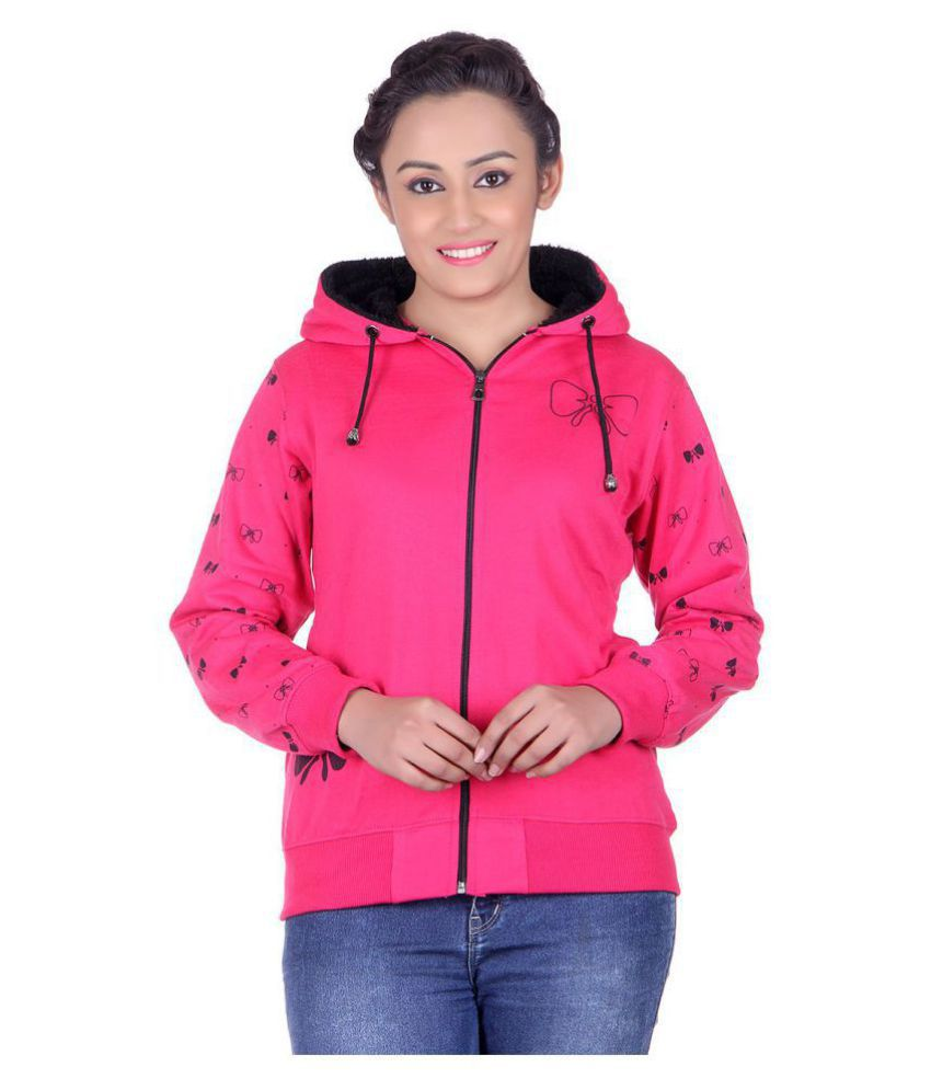 Goodluck Cotton - Fleece Pink Hooded Sweatshirt