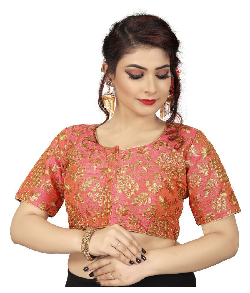 Amrutam Fab Peach Silk Readymade with Pad Blouse