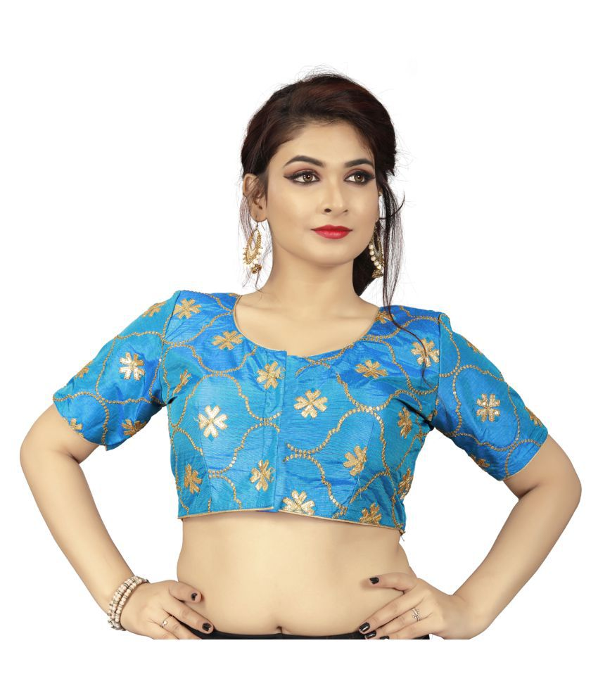 Amrutam Fab Blue Silk Readymade with Pad Blouse