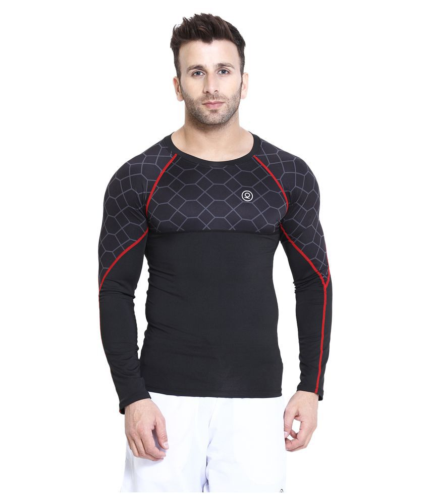 CHKOKKO Men's Compression Full Sleeve High Performance Plain Cool Dry Athletic Fit Multi Sports Stretchable Tshirts for Men