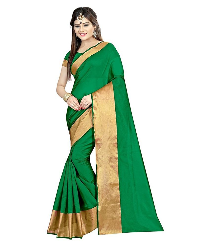 Fashion Fort Green Cotton Silk Saree