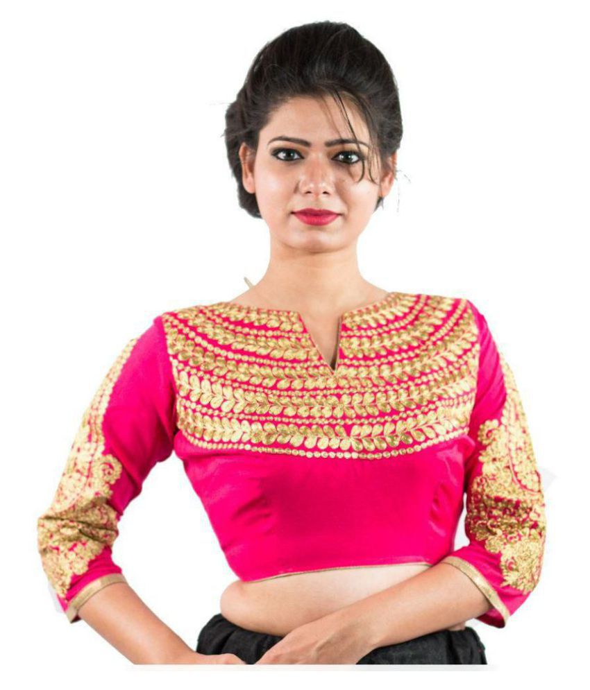 b1478a713d1d90 Intrigue Pink Silk Readymade with Pad Blouse - Buy Intrigue Pink Silk  Readymade with Pad Blouse Online at Low Price - Snapdeal.com