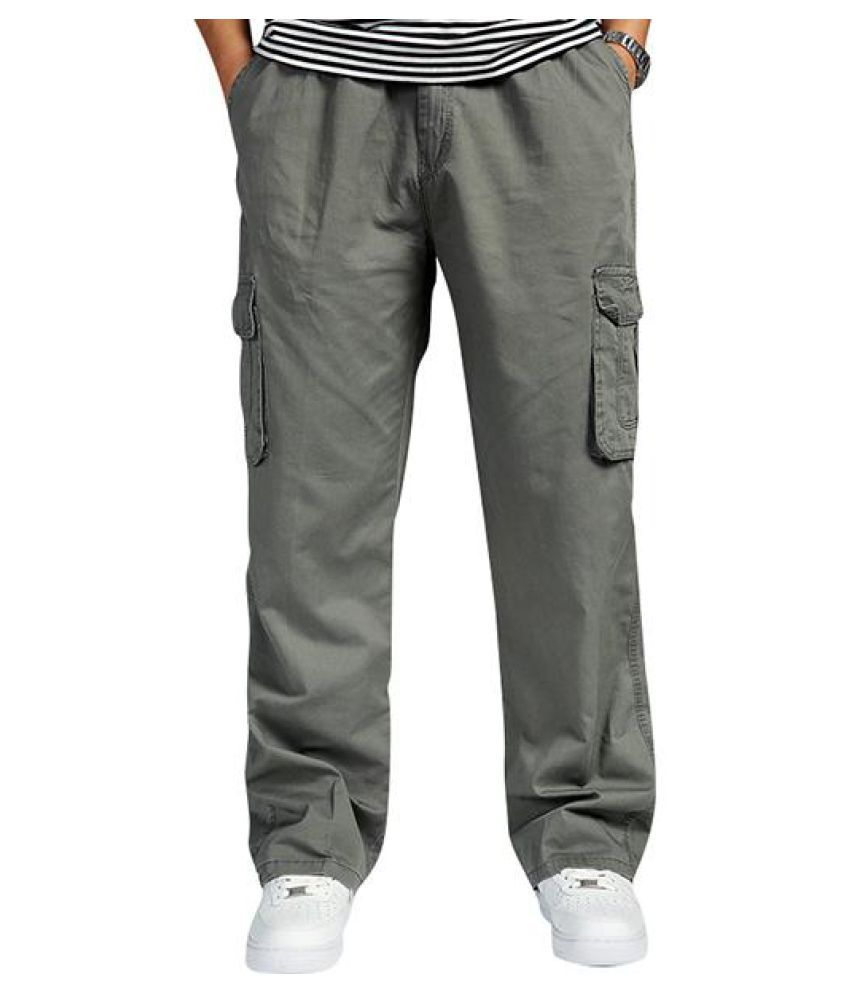 Mens Multi-pocket Cotton Cargo Pants Elastic Waist Loose Fit Solid Color Casual Trousers