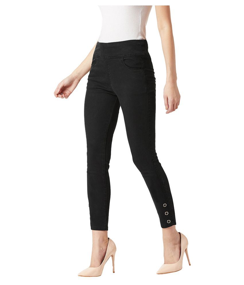 Miss Chase Cotton Jeggings - Black