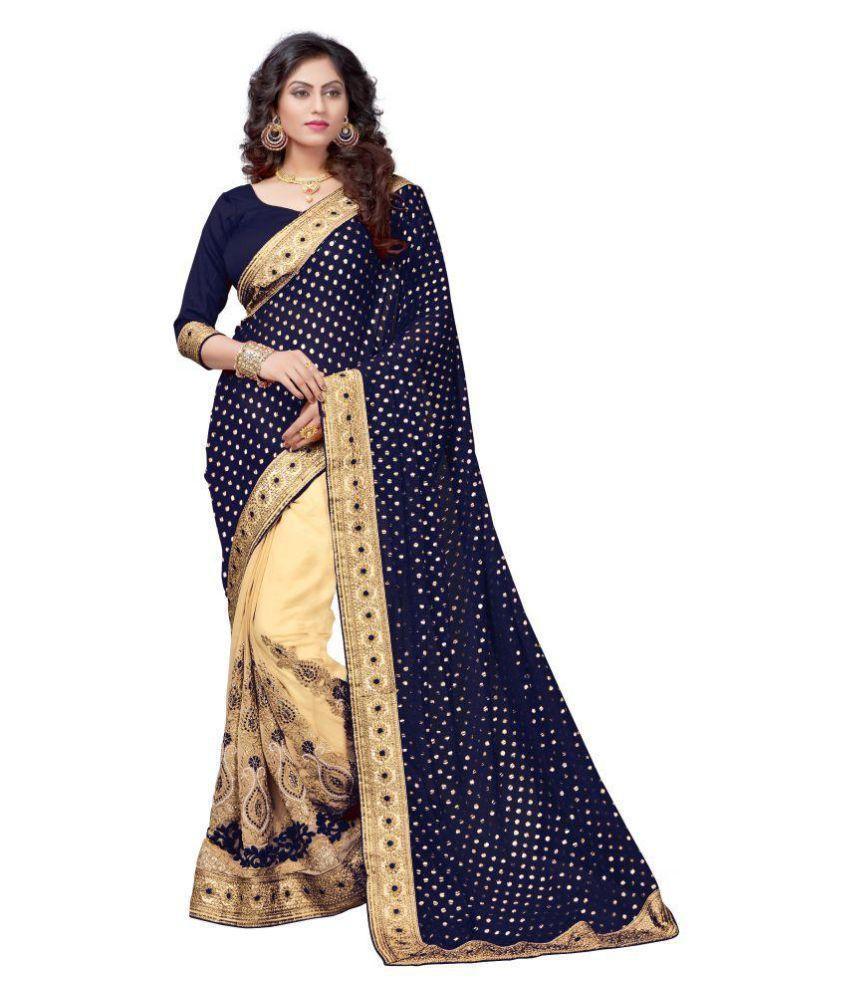 Panash Trends Blue Lycra Saree
