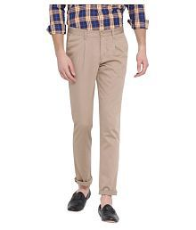 John Players Brown Slim -Fit Pleated Trousers