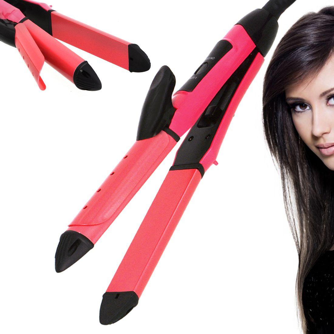 SJ 2 in 1 Professional Travel Hair Straighteners Flat Iron 45W Hair Straightener ( Red )