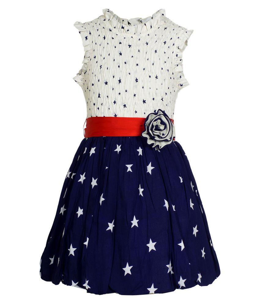 Naughty Ninos Girls White and Navy Blue Star Printed Smoked Dress
