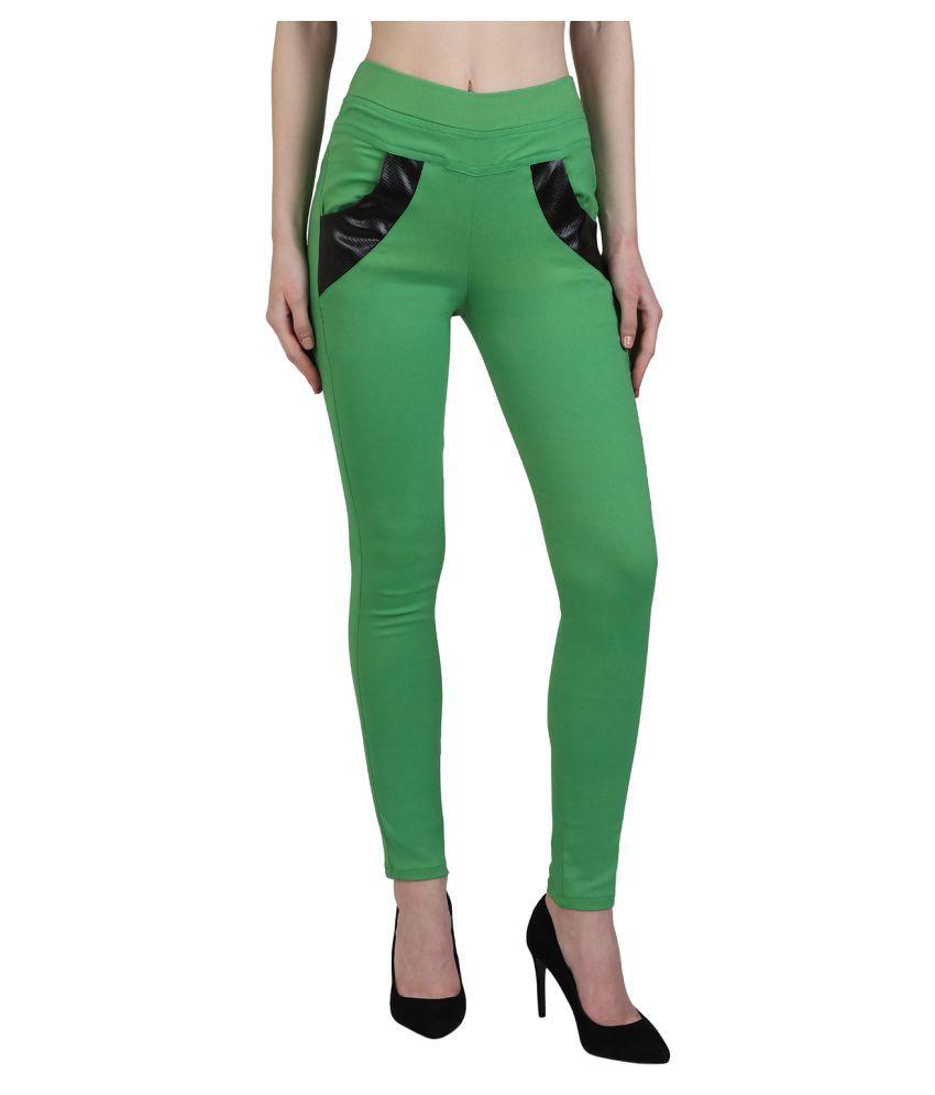 Kalakaari Cotton Lycra Jeggings - Green